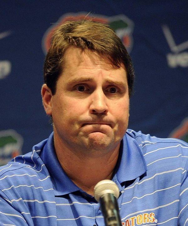 Florida head coach Will Muschamp fields a question