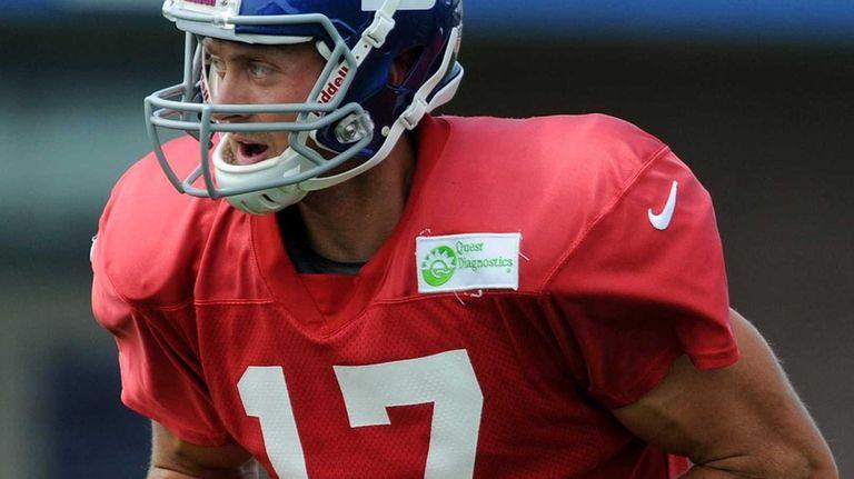 Giants quarterback Curtis Painter practices during training camp
