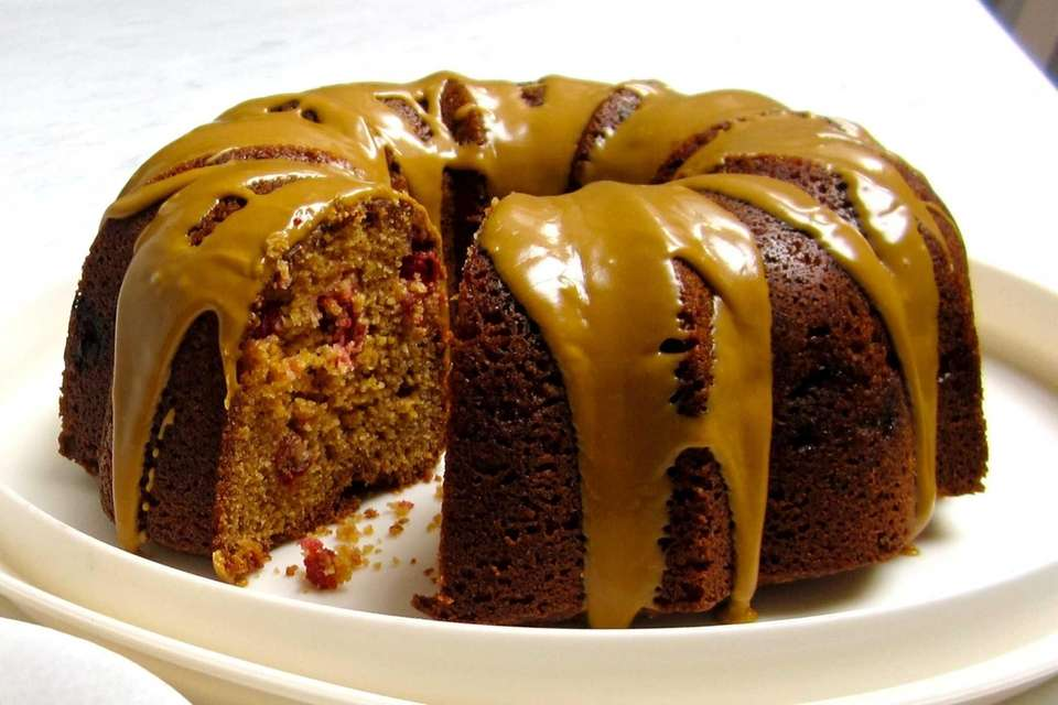CRANBERRY-CORNMEAL BUNDT CAKE: Cornmeal in the batter gives