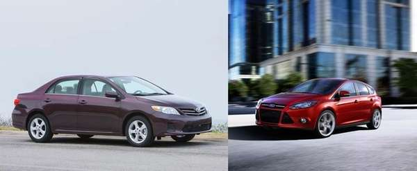 The Toyota Corolla, left, and the Ford Fusion,