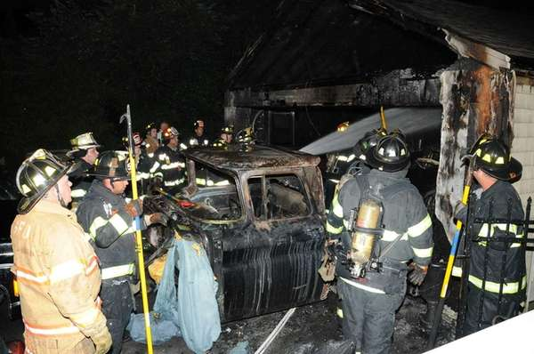 The Greenlawn Fire Department responds to a fire