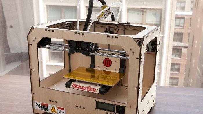 The MakerBot Replicator three-dimensional printer provides a consumer