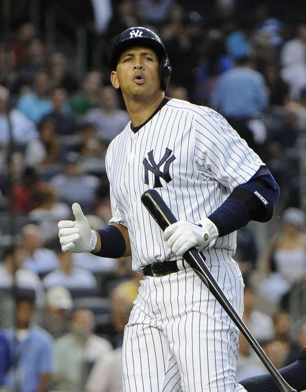 Alex Rodriguez of the Yankees reacts after he