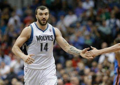 Minnesota Timberwolves center Nikola Pekovic is shown in