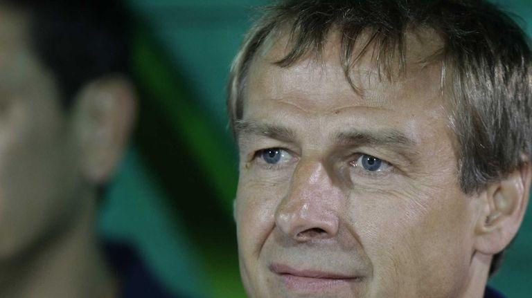 USA national team coach Jurgen Klinsmann watches their