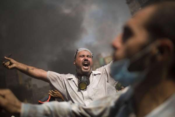 Supporters of ousted Islamist President Mohammed Morsi shout