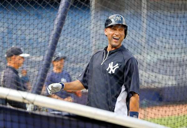 Derek Jeter of the Yankees has a laugh