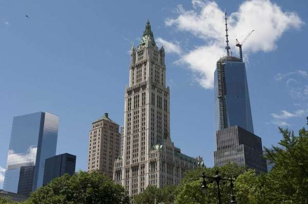 Exterior of the Woolworth Building, center, in Manhattan.
