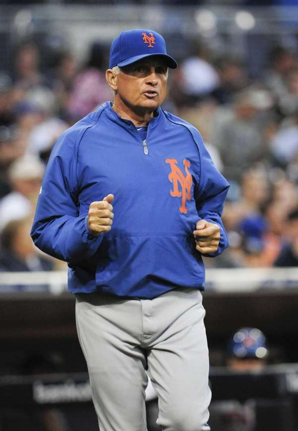 Manager Terry Collins of the Mets comes onto