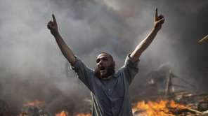 A supporter of ousted President Mohammed Morsi shouts