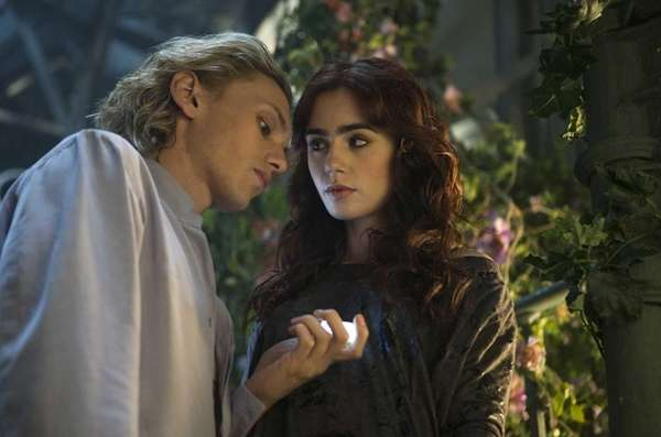 From left, Jamie Campbell Bower and Lily Collins
