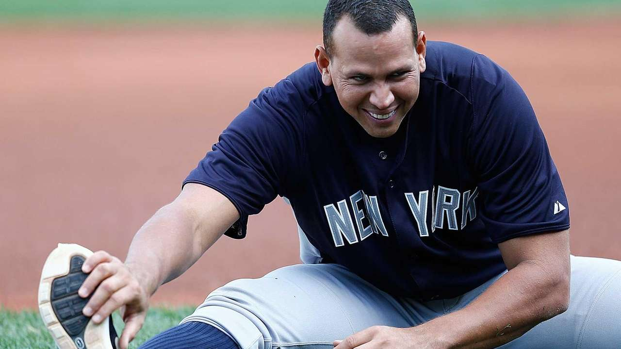 Alex Rodriguez of the Yankees warms up before