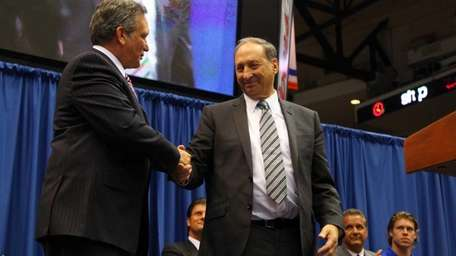 Nassau County Executive Edward Mangano and Bruce Ratner,