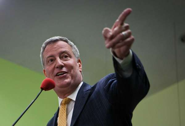 New York mayoral candidate Bill de Blasio speaks