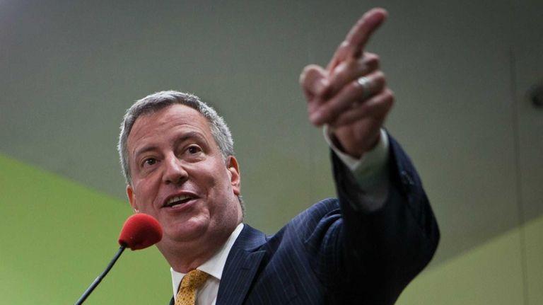 New York mayoral candidate Bill de Blasio speaks