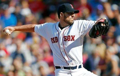 Boston Red Sox John Lackey pitches in the