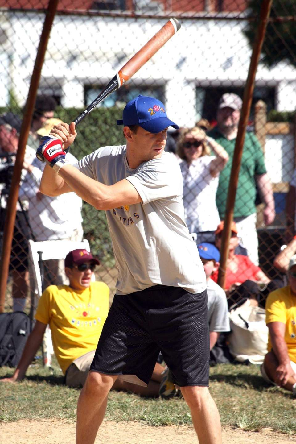 Actor Josh Charles bats in the East Hampton