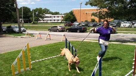 Volunteer trainer Kyrstin Stehle leads pitbull mix Duarde