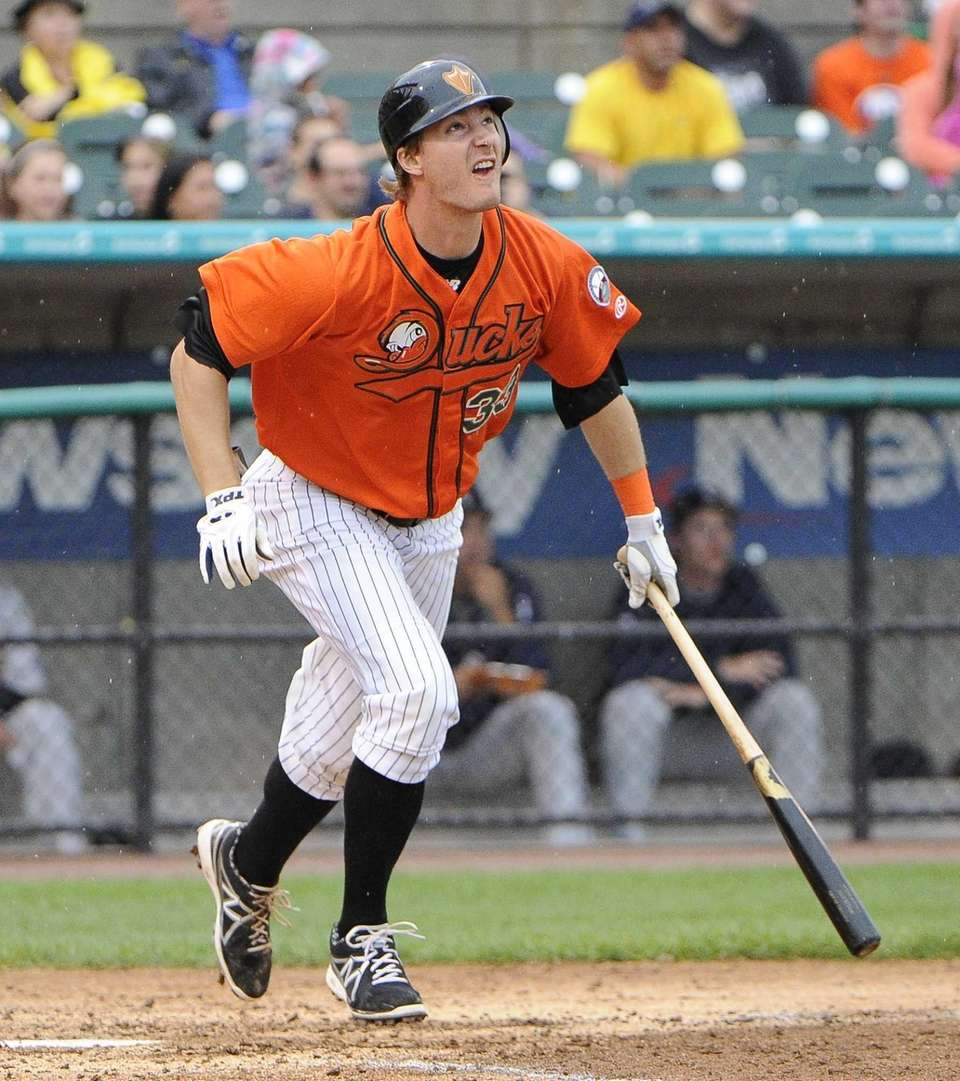 Ducks' Ryan Strieby doubles in the fourth inning
