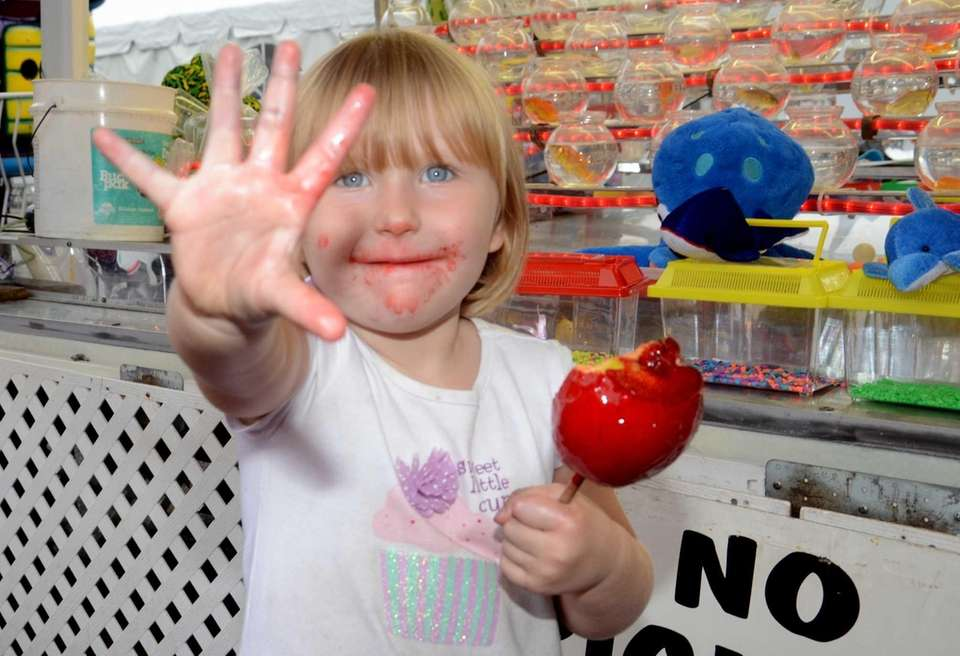 Skylar Rose Furey, 3, of upstate Croton-on-Hudson, shows