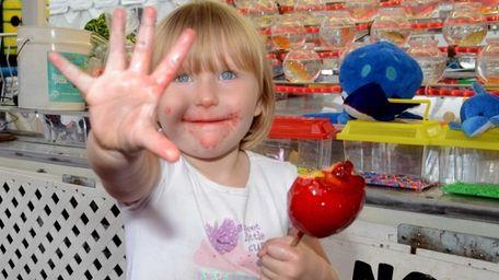Skylar Rose Furey, 3, of upstate Croton-on-Hudson, shows