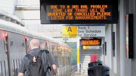 A message at the Ronkonkoma train station Monday