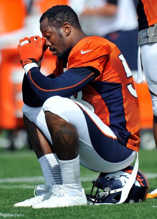 Denver Broncos linebacker Von Miller reacts as he