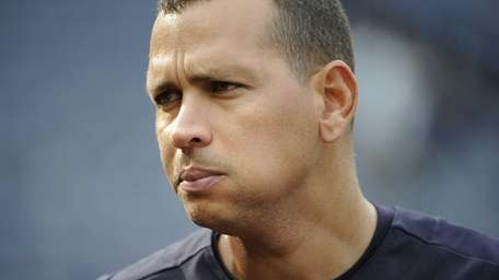 Alex Rodriguez is seen on the field during