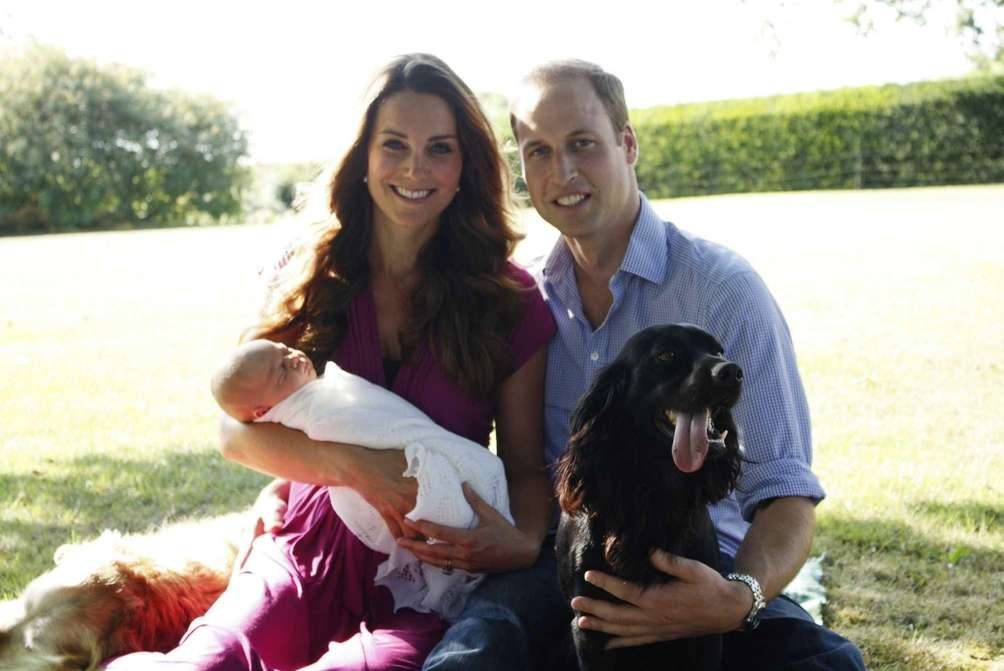 Prince William and Duchess Kate with their newborn