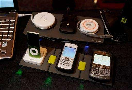 Powermat, a wireless charger, is showcased at the