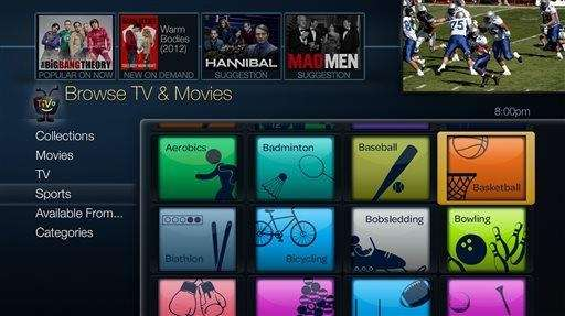 A sports menu from the new TiVo Roamio