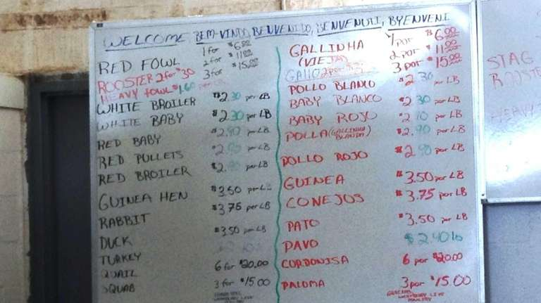 The price list at Westbury Live Poultry Market