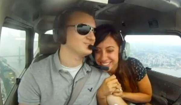 Pilot Mike Nelson, 22, of Islip, proposed to