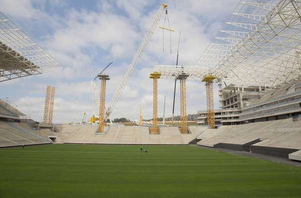 A view of the Arena Corinthians construction site,