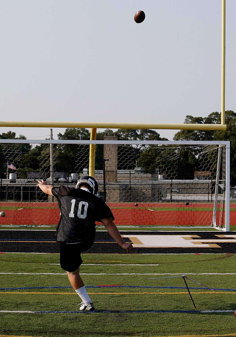 Sachem North kicker Bryan Morris practices his craft.