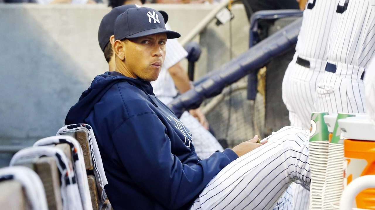Alex Rodriguez of the Yankees looks on from