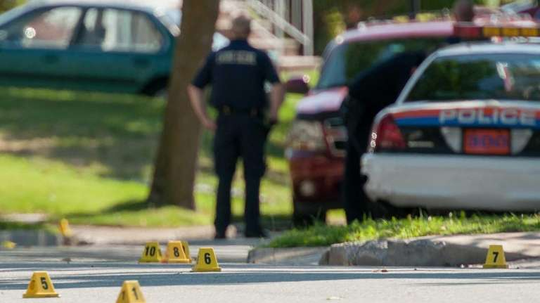 Nassau County police investigate the scene on Campbell