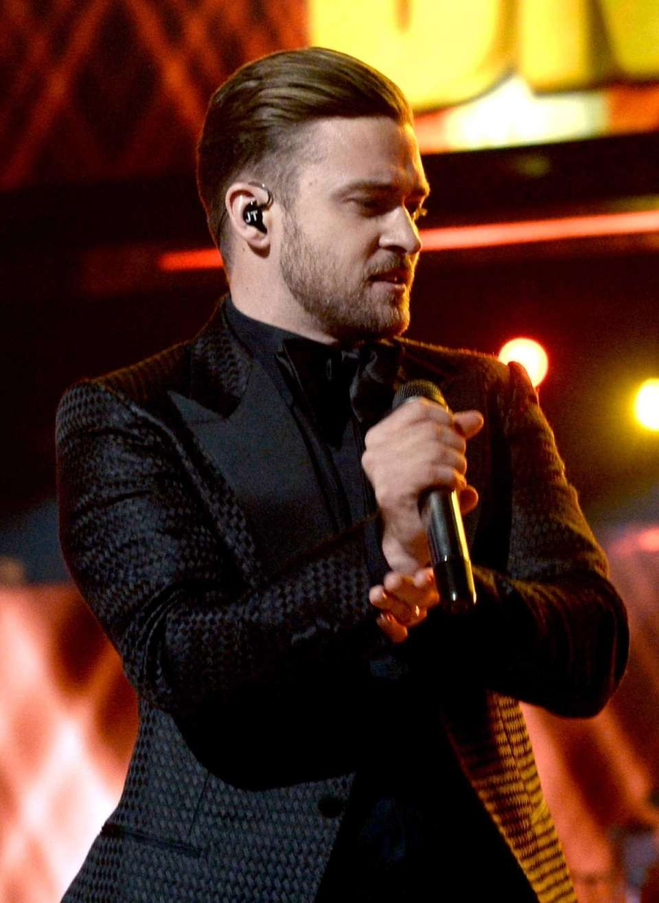 Singer Justin Timberlake performs onstage during the 2013
