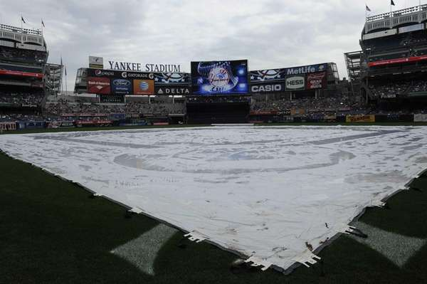 The field at Yankee Stadium is covered by