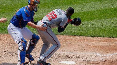 Atlanta Braves outfielder Jason Heyward is helped by