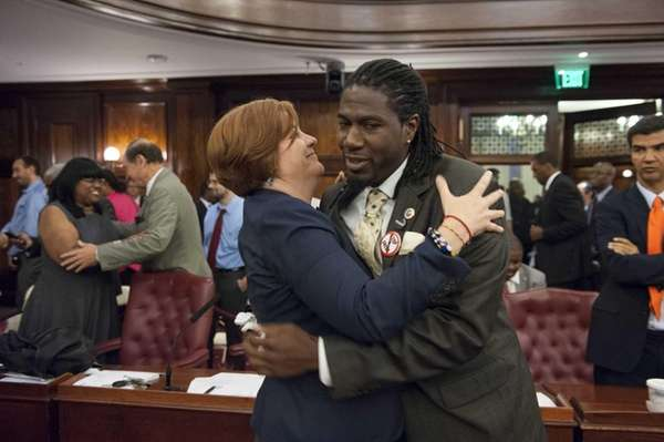 City Council Member Jumaane D. Williams hugs City