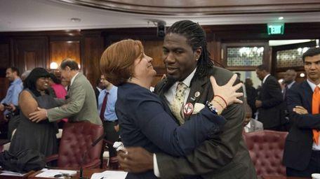 City Council Member Jumaane D. Williams hugs City