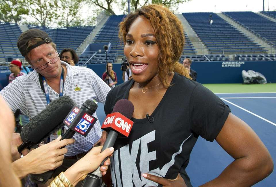 Serena Williams speaks to the press at the