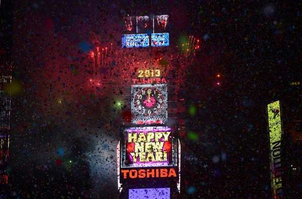 People celebrate the New Year on Times Square