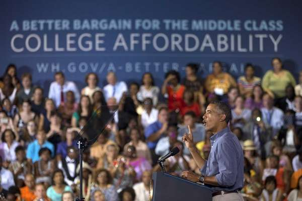 President Barack Obama speaks at Henninger High School