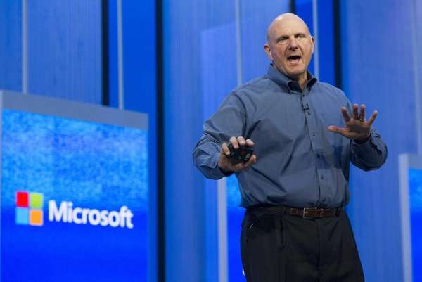 Steve Ballmer, chief executive of Microsoft Corp., delivers