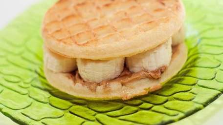 The waffle with banana sandwich can be found