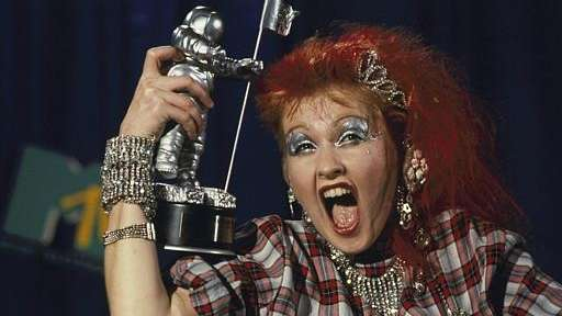 Cyndi Lauper after receiving the MTV Award at