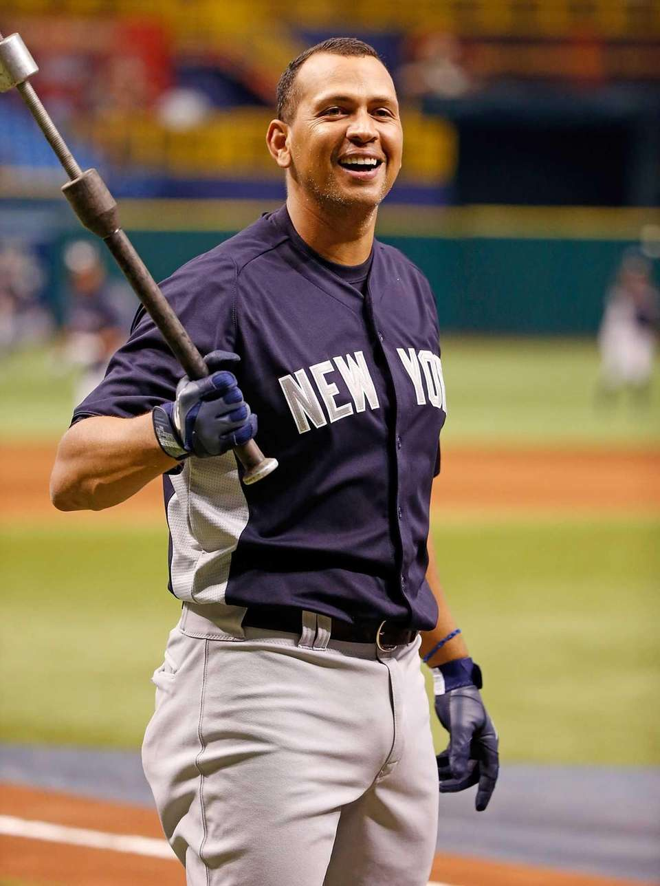 Infielder Alex Rodriguez of the Yankees smiles during