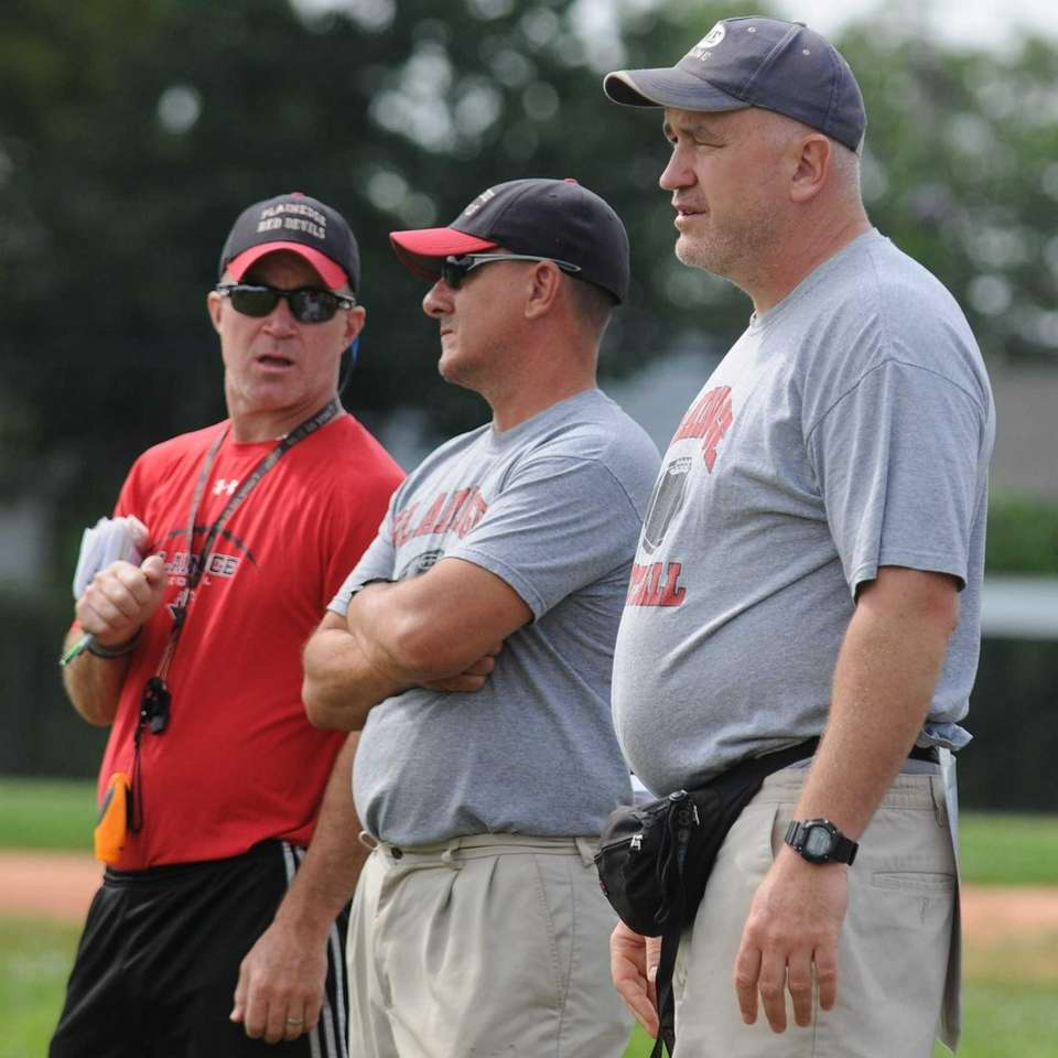 Plainedge High School varsity football coach Rob Shaver,